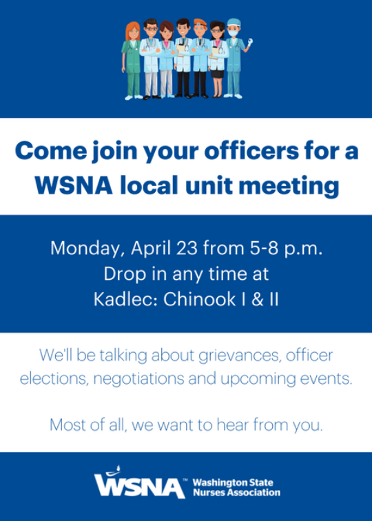 Come Join Your Officers For A Wsna Local Unit Meeting
