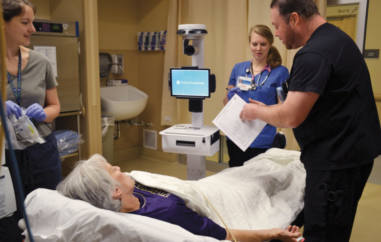 """Ed Staff Work With Telestroke Neurologist To Perform A Nihss During A """" Code Stroke"""" Photo Credit Wendy Fagan Prmce Media Optimized"""